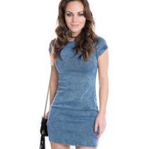 Vestido Jeans Feminino Justo Com Zíper - Kam Bess - Ve1250