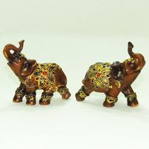 Par Elefantes Resina Imita Madeira Indiano Sabedoria Sorte