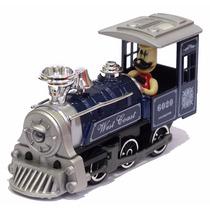 Miniatura Locomotiva Vapor Velho Oeste C/ Maquinista Azul