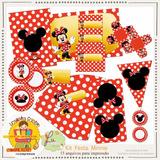 Kit Scrapbook Digital Minnie Mouse Festa Aniversário Convite
