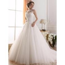 Vestido Noiva Regata Bordado De Renda Rodado Princesa