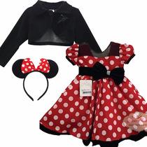 Vestido Festa Minnie Vermelho Luxo Com Bolero E Tiara Minie
