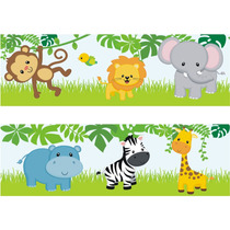 Adesivo Infantil Border Bebe Zoo Safari Animais Bichinhos 33