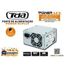 Kit 5 Fonte Atx 450w Tda 24+4 Pinos +2 Cabo Força Sata