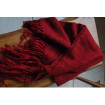 Xale Lã Vermelho-queimado Feito Em Tear Manual, 1,80mx0,55m