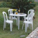 Jogo De Mesa Redonda Com Cadeiras Plásticas Bistrô Eventos