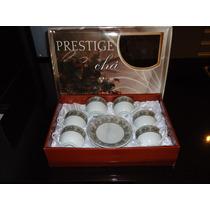 Jogo De Cha Xicara Porcelana Prestige Prata12 Peças Presente