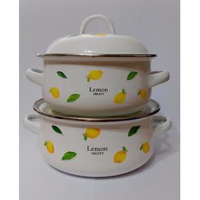 Set Cacerolas Enlozadas Lemon X2 N°16 Y N°18