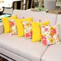 Almofadas Amarelas E Florais 6 Peças Já Com Enchimento