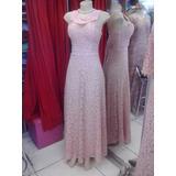 Vestido Festa Longo Madrinha Casamento Formatura Rosa Cha