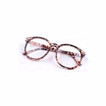 Armação Óculos Retrô E Lentes Transparentes Para Grau Unisex