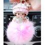 Chaveiro Pompom Pelúcia Rosa Boneca Monchichi Moda Japão