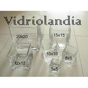 3 Fanales Cuadrados De Vidrio Floreros Y Souveniers De 5x5