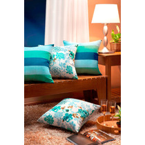 6 Capas De Almofadas Decorativas 100% Algodão Azul Turquesa