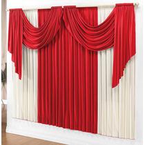 Cortina P/ Sala Decor Vermelho Palha 3mx2,8m P/varão Duplo