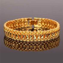 Bracelete Masculino Pulseira Banhada Em Ouro Amarelo 18k