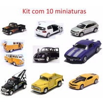 Kit Com 10 Miniaturas Metal Carros Diversos E Antigos Cl17