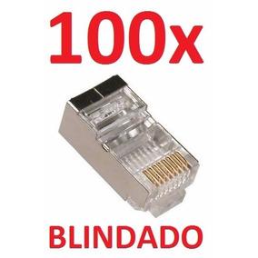 Kit C/ 100 Conector Rj45 Cat6 Blindado Rj 45 Lan Plug Rede