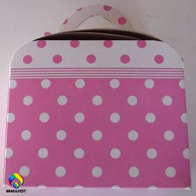 Caixa Maleta Rosa C/ Poá Branco (10 Caixas)