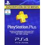 Código Playstation Plus Argentina - 1año 12meses- Inmediato!