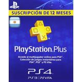 Código Playstation Plus Argentina 1 Año 12 Meses- Inmediato!