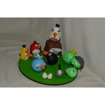 Adorno Para Torta De Angry Birds En Porcelana Fria