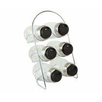 Especiero X 6 - Tapa Plastico Negro Con Soporte Acero