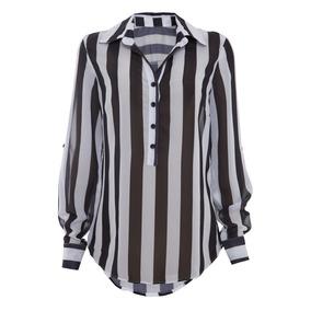 Camisa Chifon Preto E Branco 1847