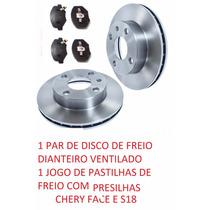 Disco Freio Dianteiro Pastilha C/presilha Chery Face S18 Par