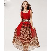 Vestido Longo Leopardo Oncinha Festa Estampado