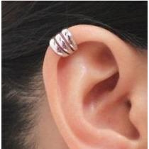 1 Ear Cuff Brinco Piercing Argola Falso De Pressão Prata