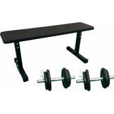 Kit Completo Musculação Pesos Banco + Barras + Anilhas 12kg