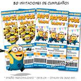 20 Invitaciones De Cumpleaños Minions Mi Villano Favorito