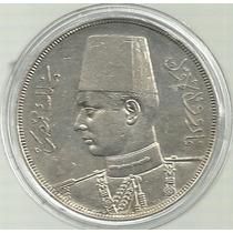 Egipto 20 Piastras 1939 Plata 28 Gramos Rara