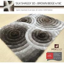 Tapete 3d Shaggy Fio Seda Geométrico Marrom Branco 200x250