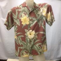 Camisa Seda Tommy Bahama Vinho/floral Amarela P 111-211