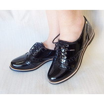 Sapato Oxford Feminino Preto Verniz
