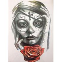 Tatuagem Grande ( Rock Tatoo) Temporária Crânio/caveiras