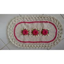 Tapete Barbante Crochê 0,80 X45 Cm Artesanal Com Flor