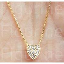 Colar Coração Cravejado Com Pedras Zirconias Folheado A Ouro