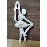 Aplique Bailarina Grande Em Resina Branca Ref 009