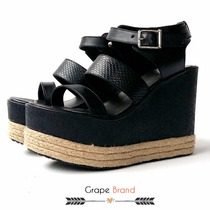 Sandalias Linea Forever Color Negro Con Plataforma