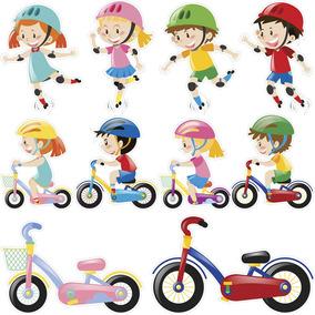 Adesivos Destacáveis Decorativos Crianças Se Divertindo Bike