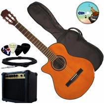 Guitarra Electro Criolla Corte Zurda Amplificador Funda Pua