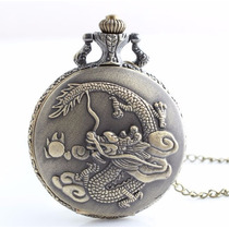 Relógio De Bolso Dragão Chines Entalhado Mandala Flor