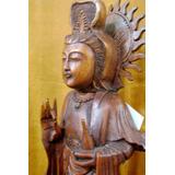 Escultura Kuan Yin Parada De 45 Cm En Madera De Teka