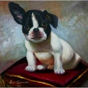 Filhote Bulldog Frances Quadro Pintura Óleo Sobre Tela