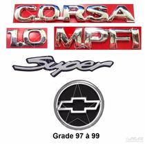 Emblemas Corsa Hatch 1.0 Mpfi Super + Gravata - 1997 À 1999