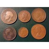 Gran Bretaña, Inglaterra. Lote X 6 Penny, Half Y Farthing