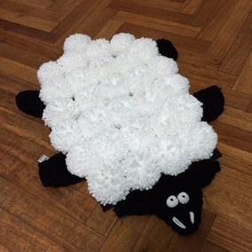 Alfombra De Diseño Oveja Sheep De Pompones De Lana 35 X 50